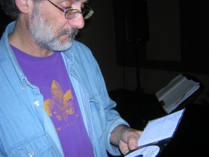 Rich reading the notes on the CD