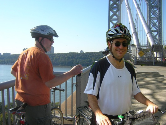 Larry and Scott Biking on the GWB on Columbus Day 2008